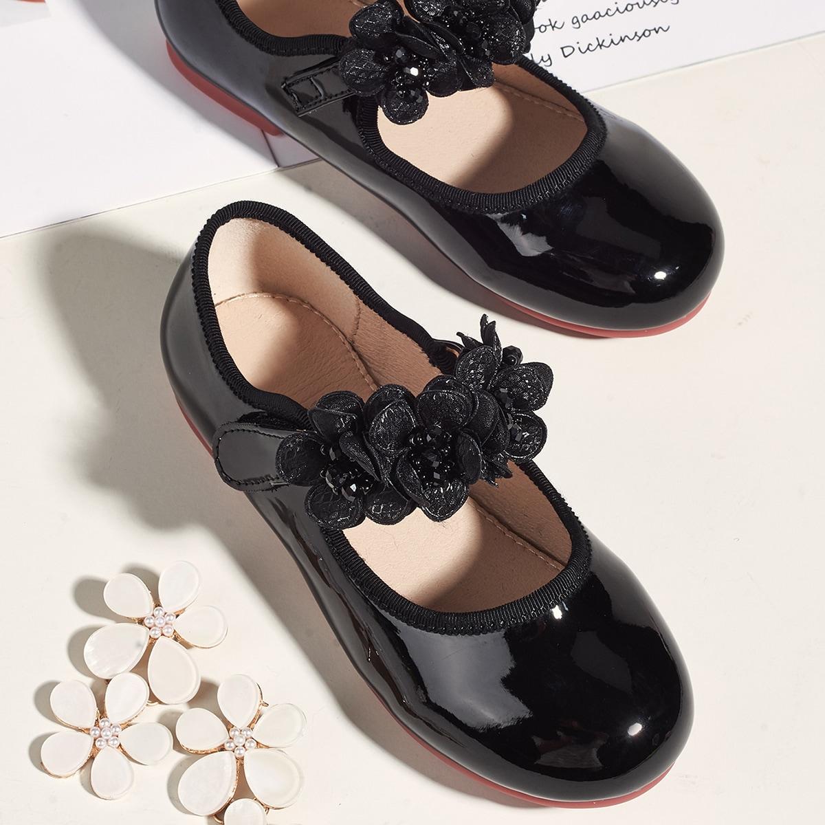 Туфли на липучке с аппликацией для девочек от SHEIN
