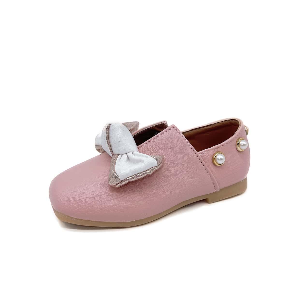 Туфли на плоской подошве с искусственным жемчугом и бантом для девочек от SHEIN
