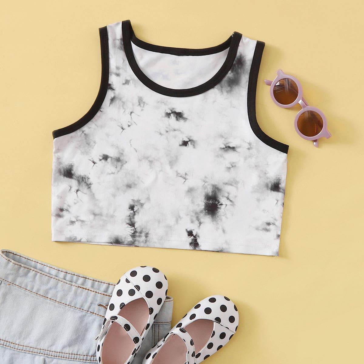 Tops tank y camis de niñas Ribete en contraste Tie-Dye Casual