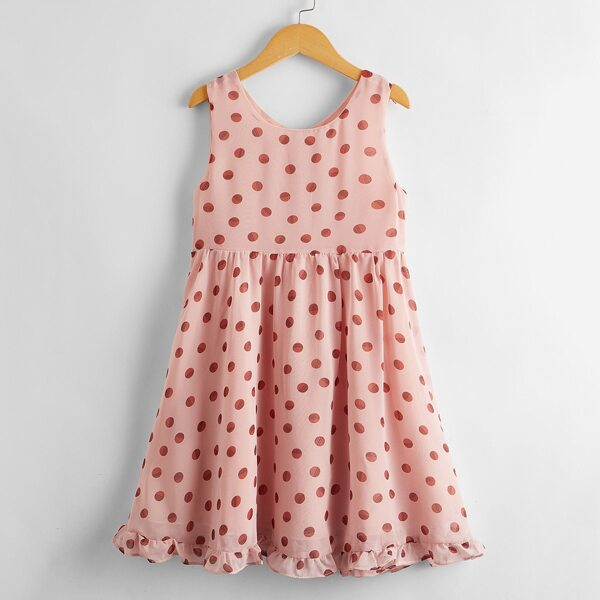 Girls Polka Dot Ruffle Hem Zipper Back Smock Dress, Dusty pink