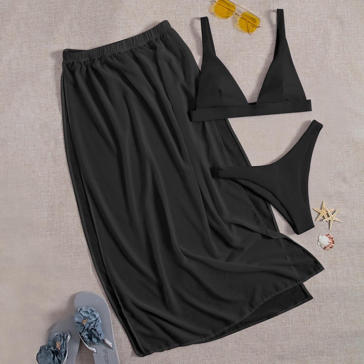 SHEIN / 3pack Plain Bikini Swimsuit & Mesh Beach Skirt