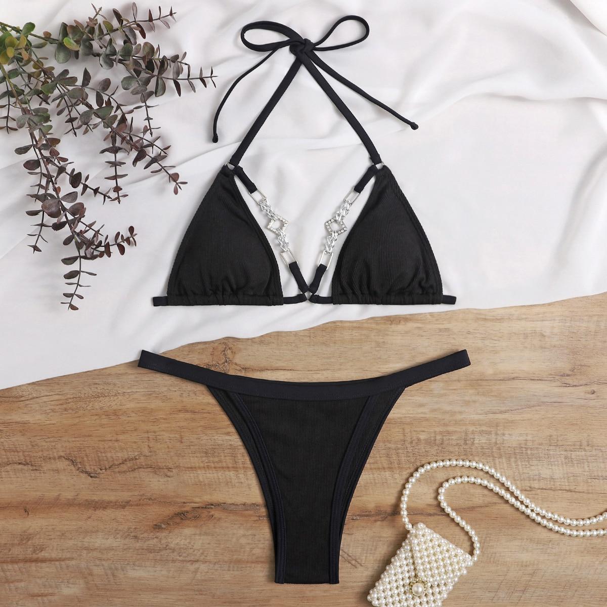 Rhinestone Decor Micro Triangle Thong Bikini Swimsuit