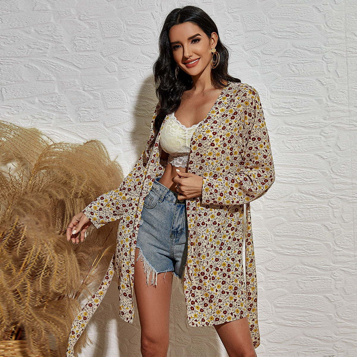 Ditsy Floral Belted Kimono