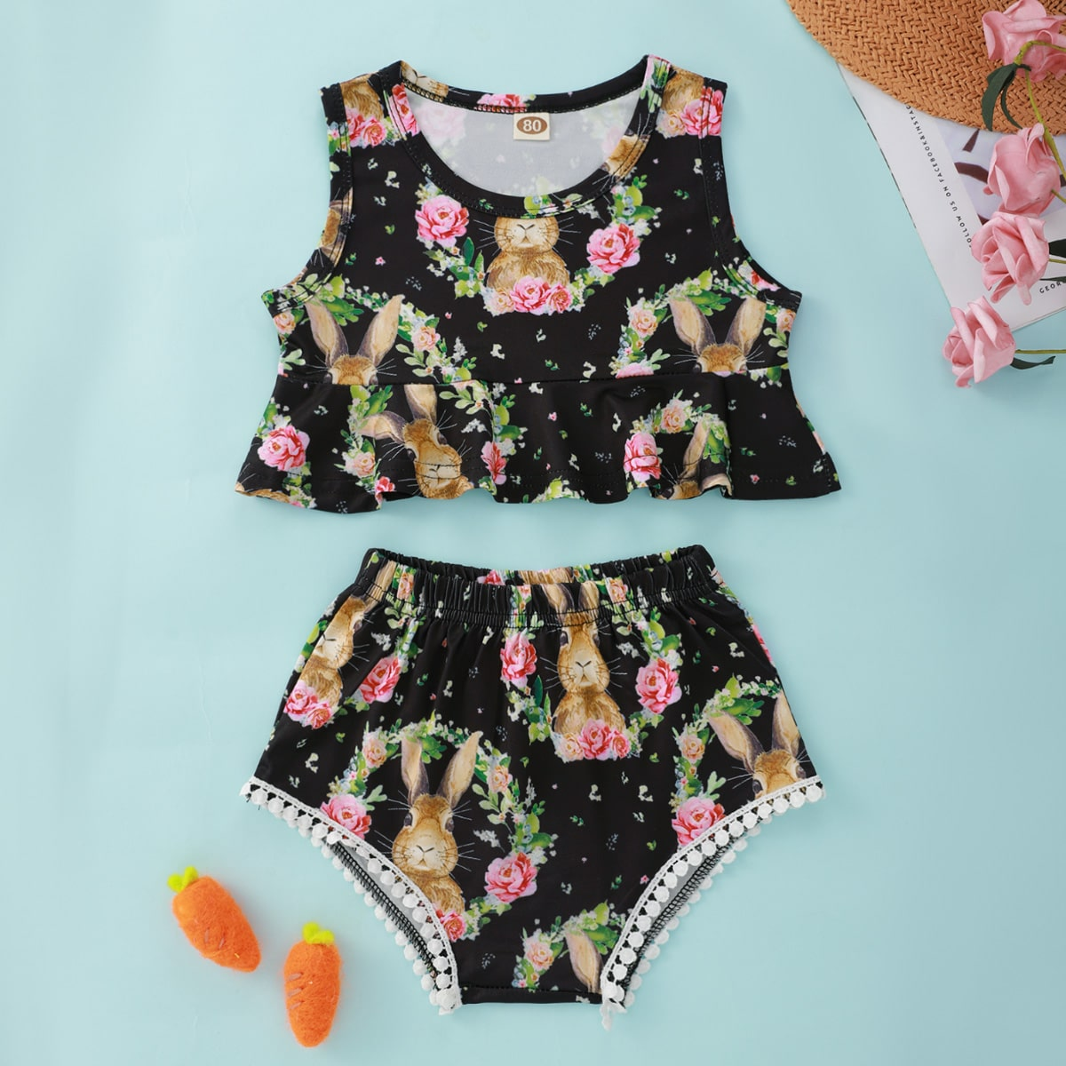 SHEIN Casual Dieren Baby-setjes Contract kant
