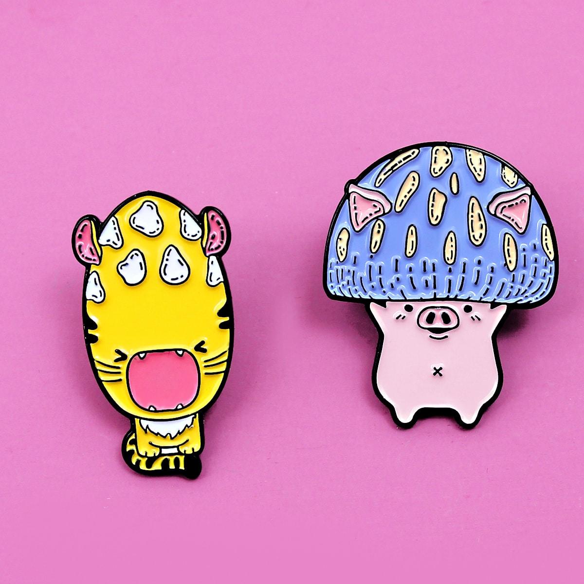 2 pezzi spilla con design funghi fumetto da bambini