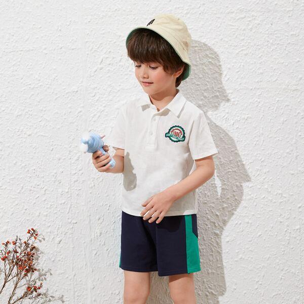 Рубашка-поло и шорты в полоску для мальчиков, Синий и белый