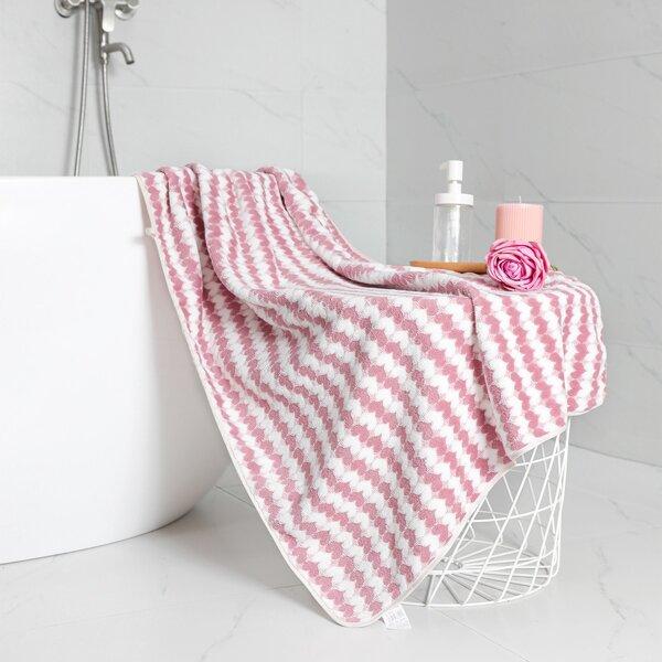 1pc Heart Pattern Absorbent Bath Towel, Pink