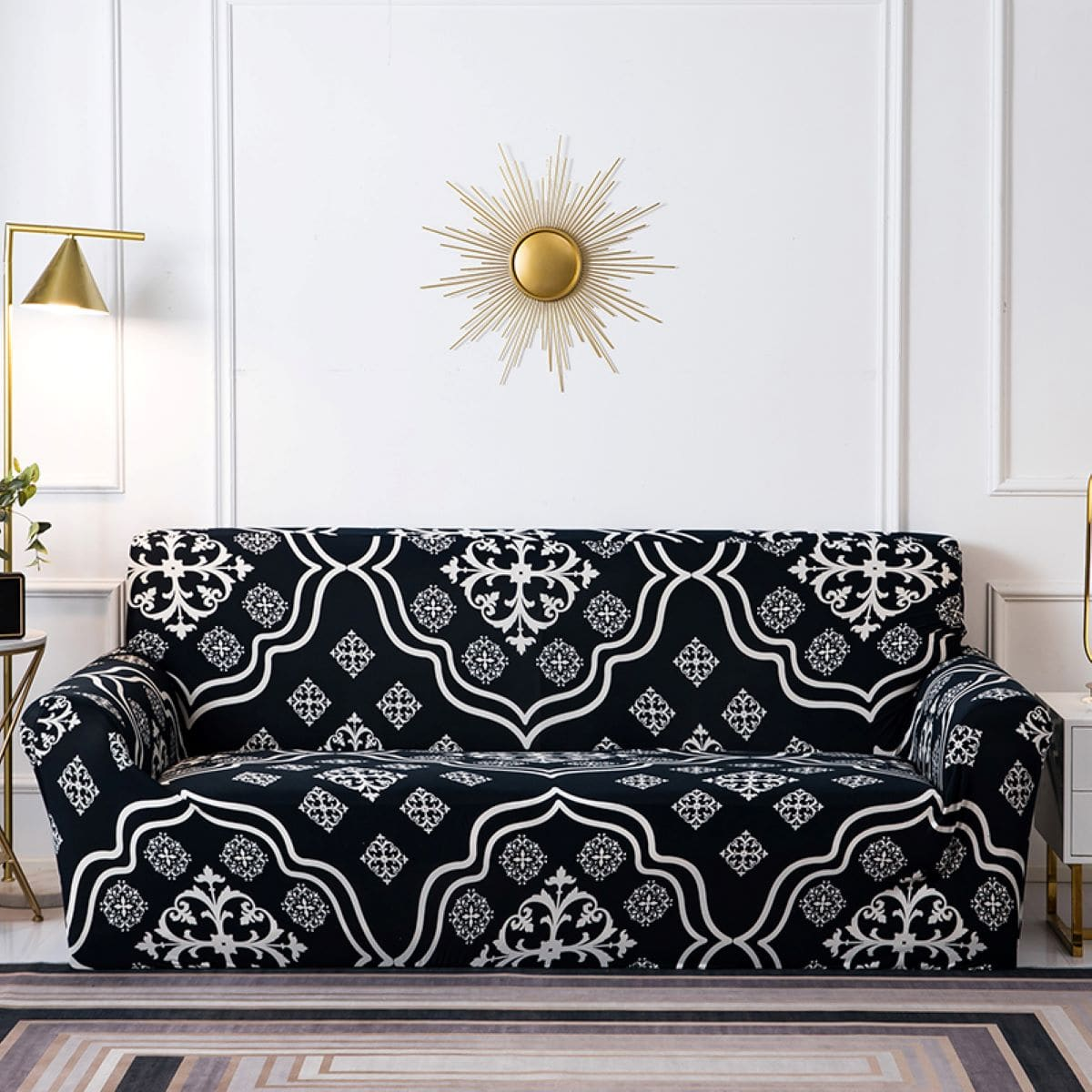 Damask Print Sofa Cover & 1pc Cushion Cover Without Filler