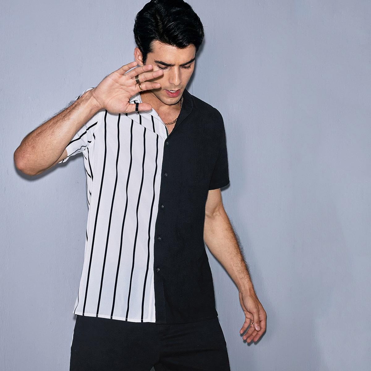 Мужская контрастная рубашка в полоску SheIn smshirt07210310437