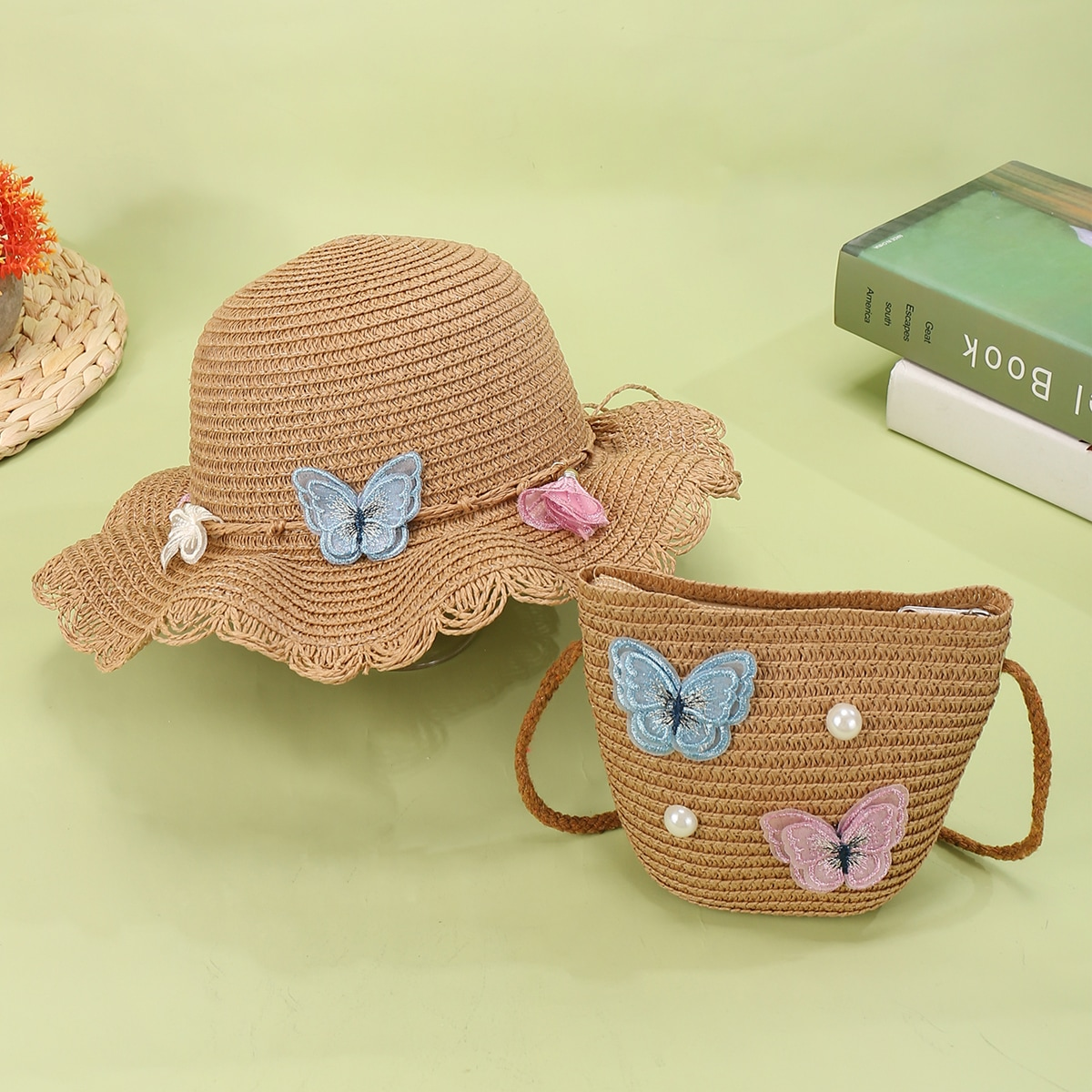 Girls Butterfly Decor Straw Bag With Straw Hat