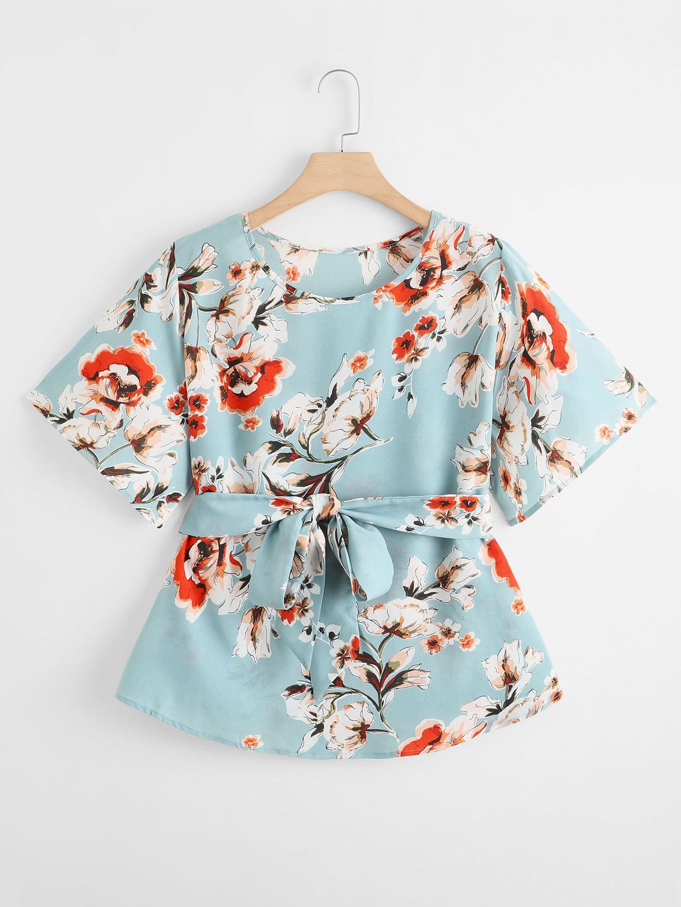 Plus Floral Print Belted Blouse