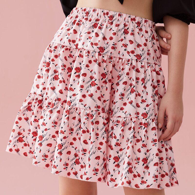 Ditsy Floral Flounce Hem Skirt, Multicolor