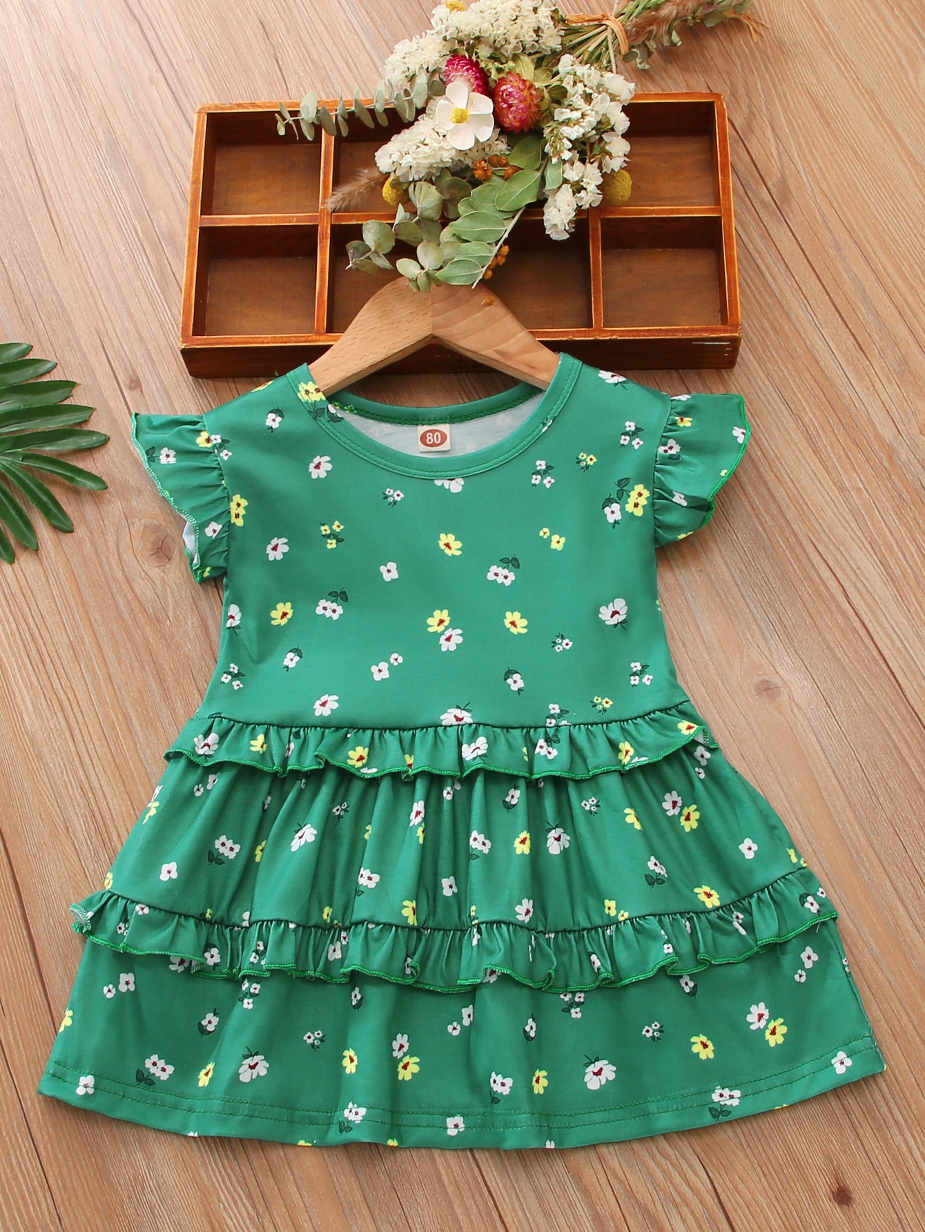 baby girl ditsy floral layered ruffle smock dress