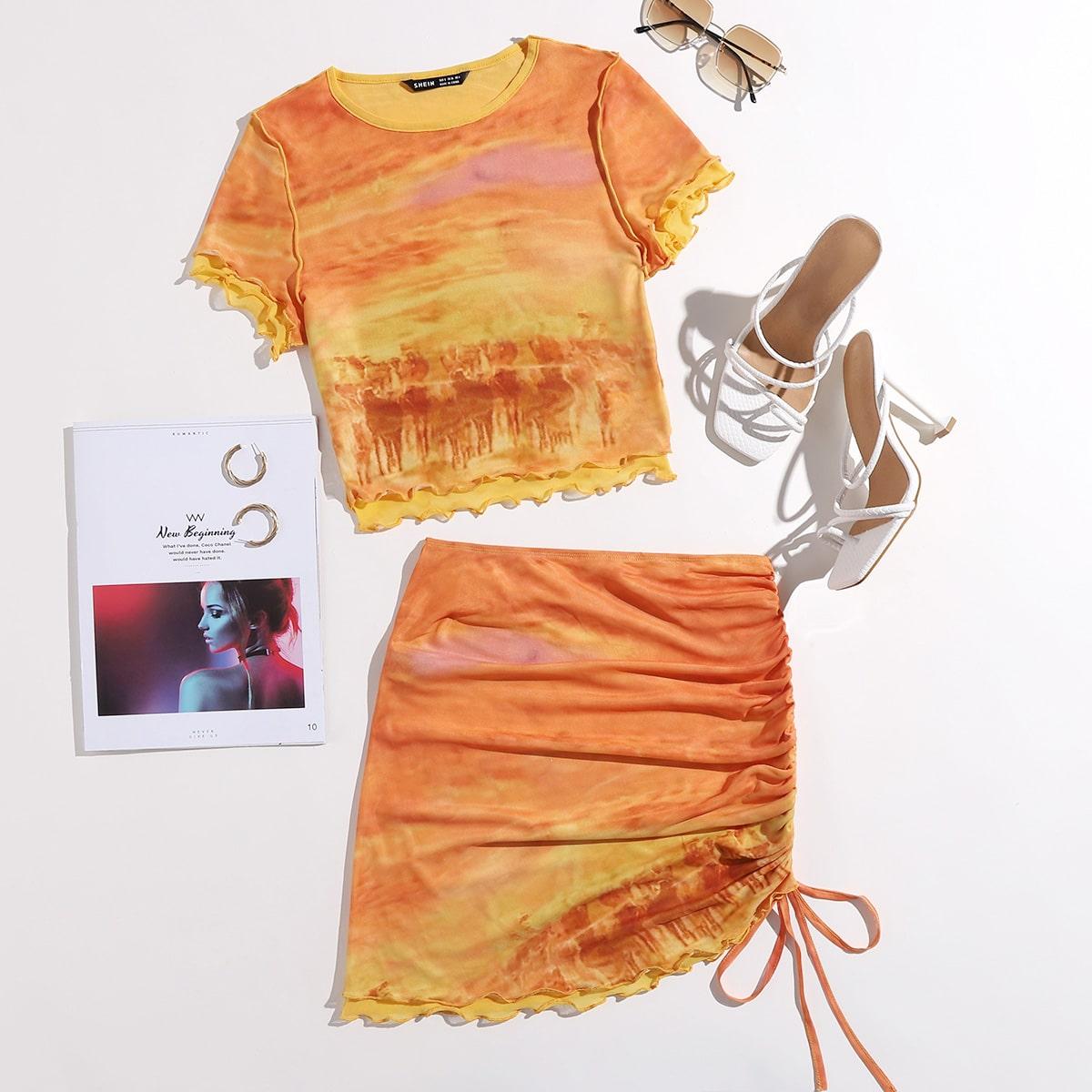 Lettuce Trim Tie Dye Top & Ruched Drawstring Skirt Set