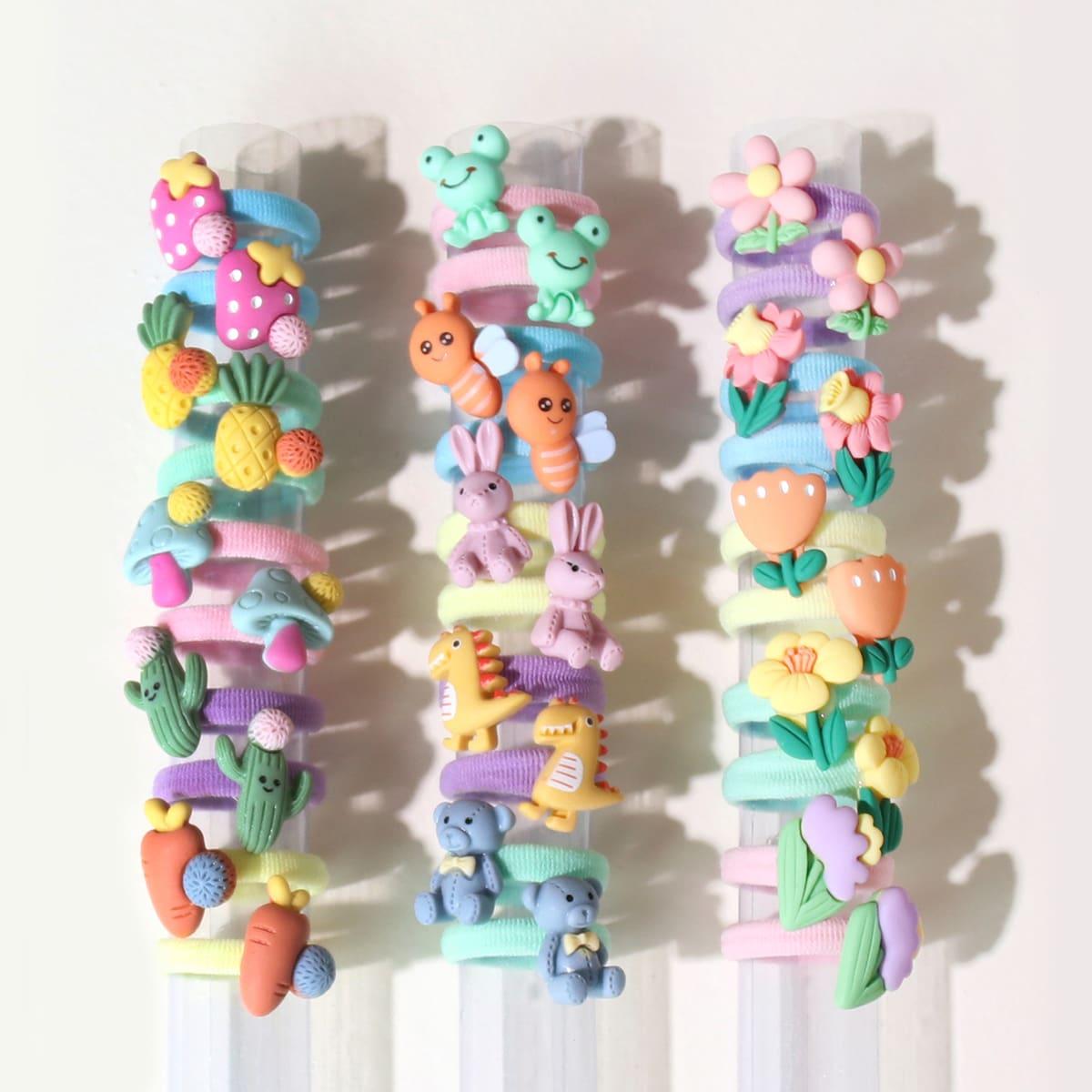 30pcs Toddler Girls Flower & Fruit Decor Hair Tie