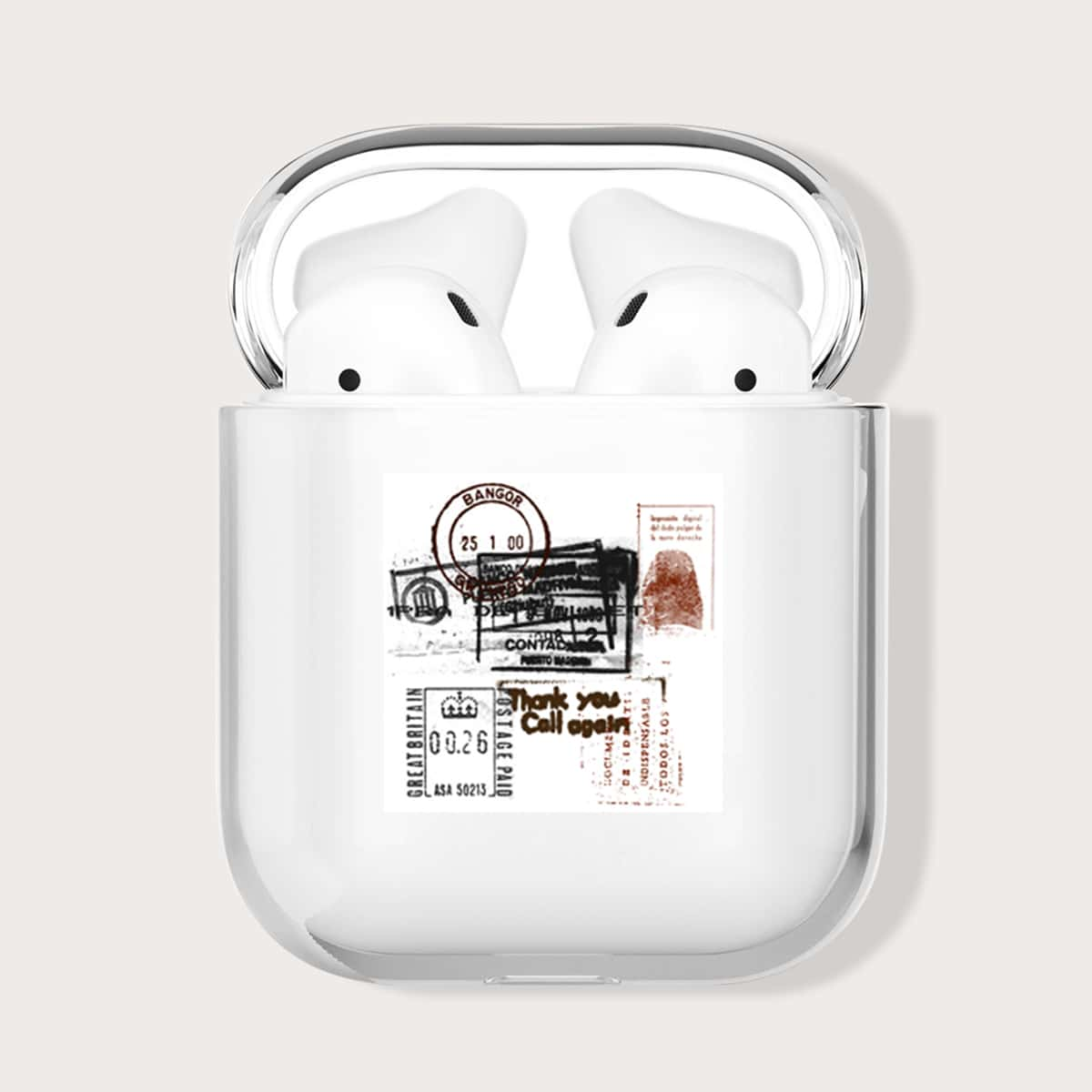 Stamp Print Clear Case For Airpods