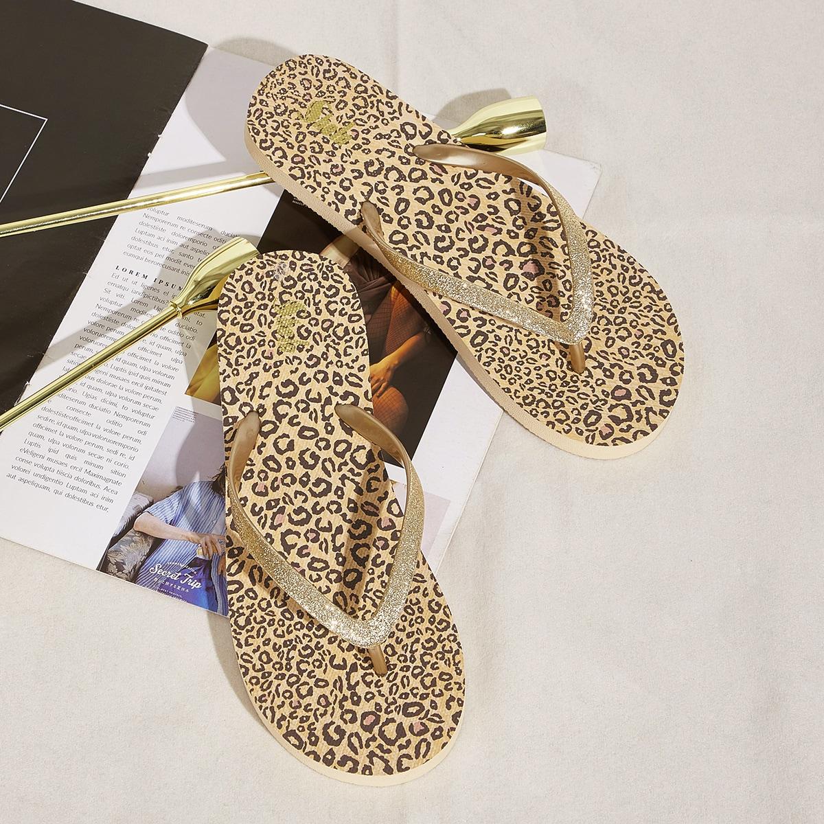 Блестящие вьетнамки с леопардовым принтом SheIn swshoes03201222228