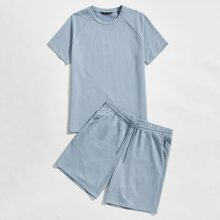Guys Raglan Sleeve Tee & Drawstring Waist Shorts Set