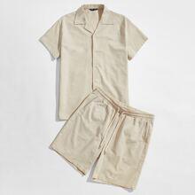 Guys Notch Neck Shirt & Shorts Set