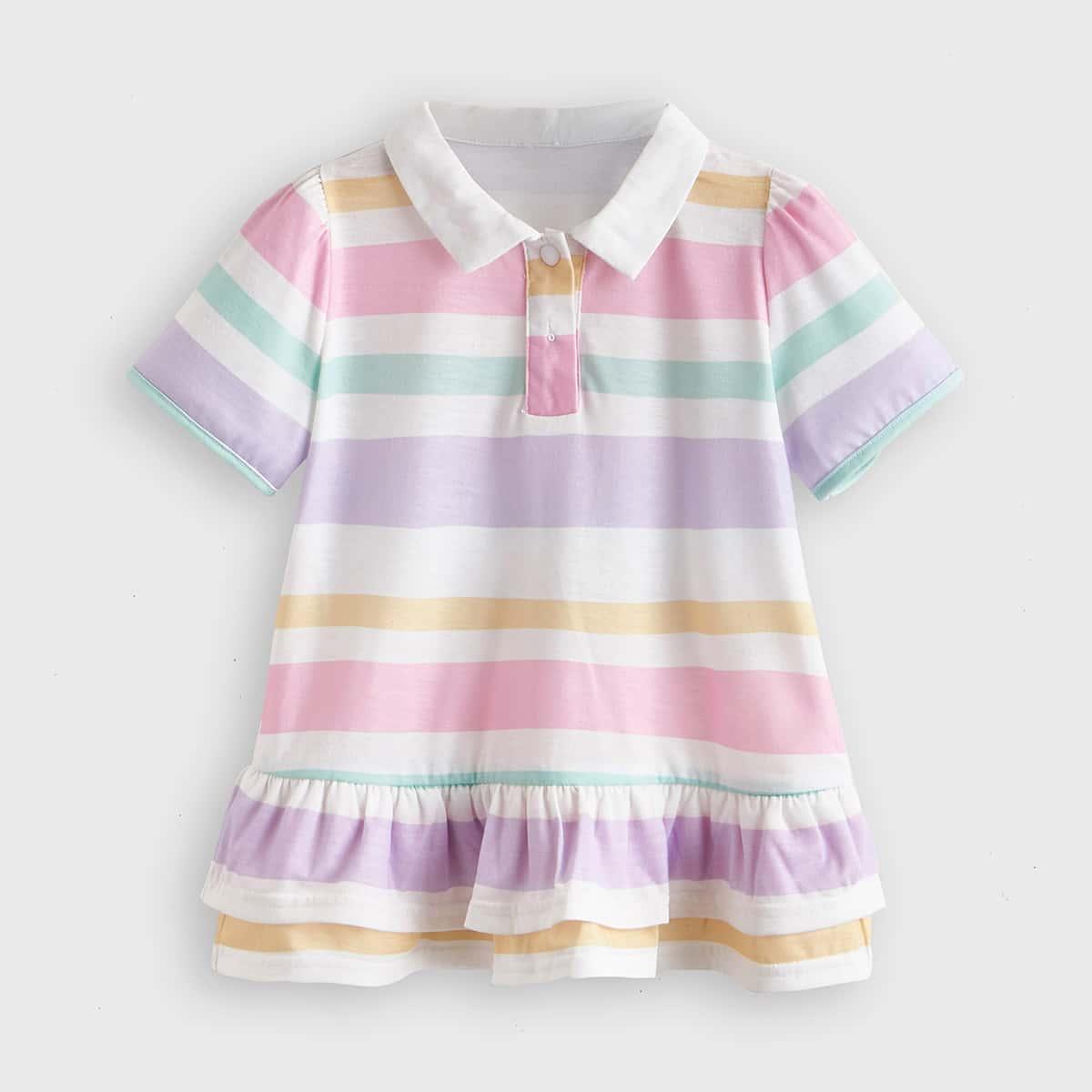 Платье в полоску с воротником-поло для девочек от SHEIN