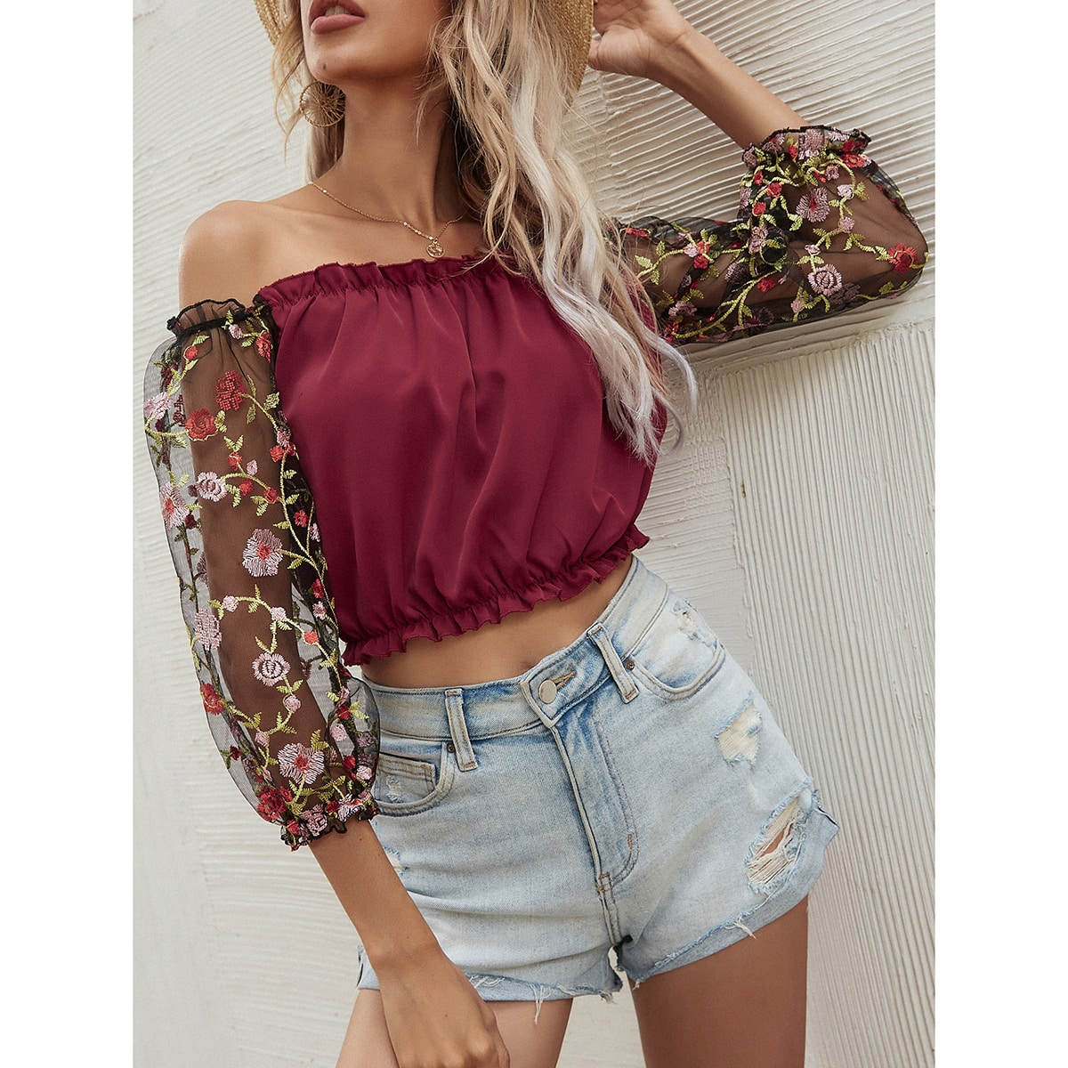 Embroidery Mesh Sleeve Bardot Top