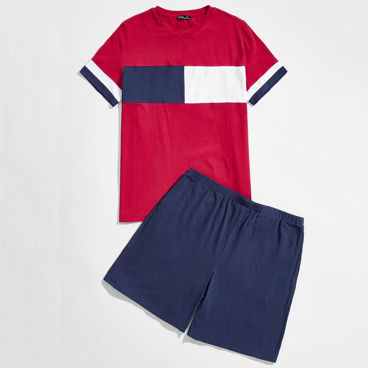 Men Color Block Tee & Shorts PJ Set