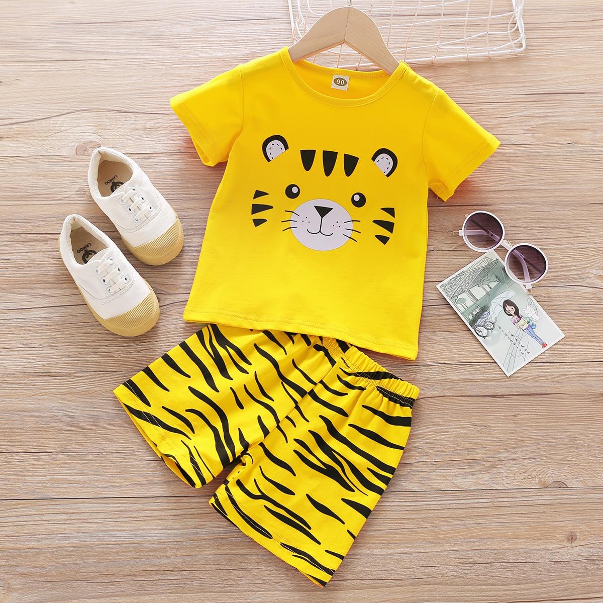 Пижама с принтом тигра для мальчиков