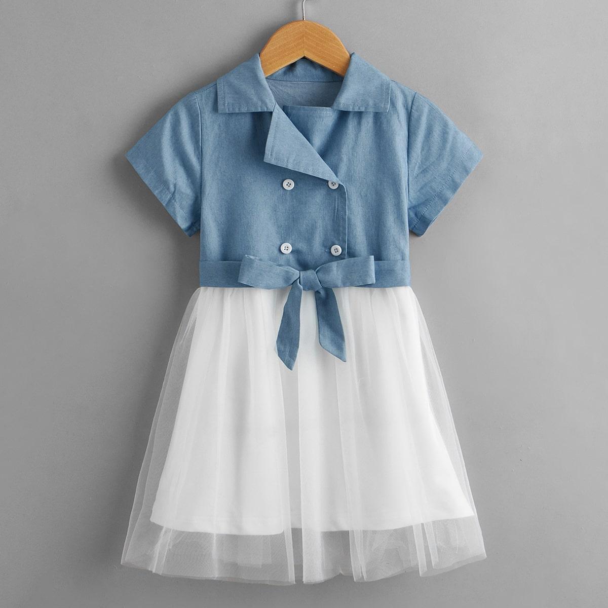 для девочек Джинсовое платье двубортный контрастный сетчатый поясом SheIn skdress03210318145