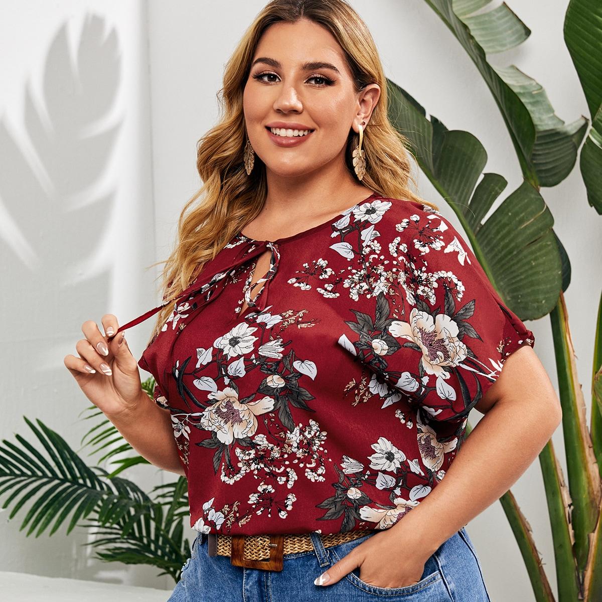 SHEIN Casual Bloemen Grote maat blouse Geknoopt