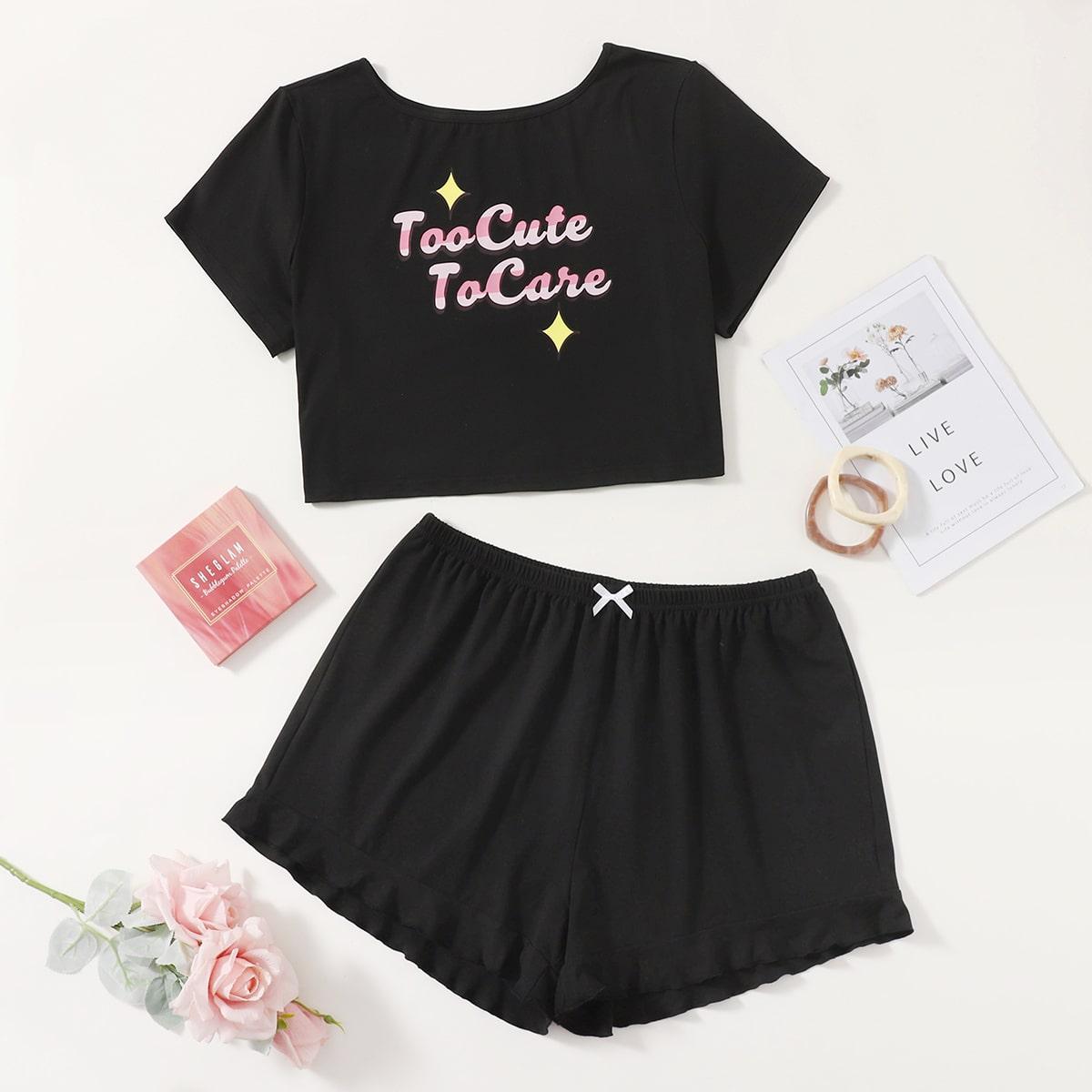 Plus Slogan Graphic Ruffle Hem Pajama Set