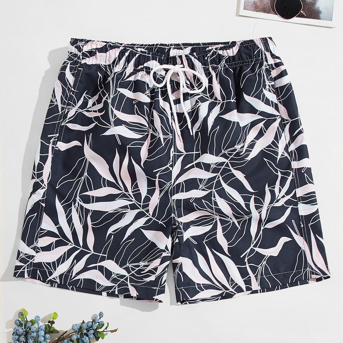 Men Leaf Print Swim Trunks