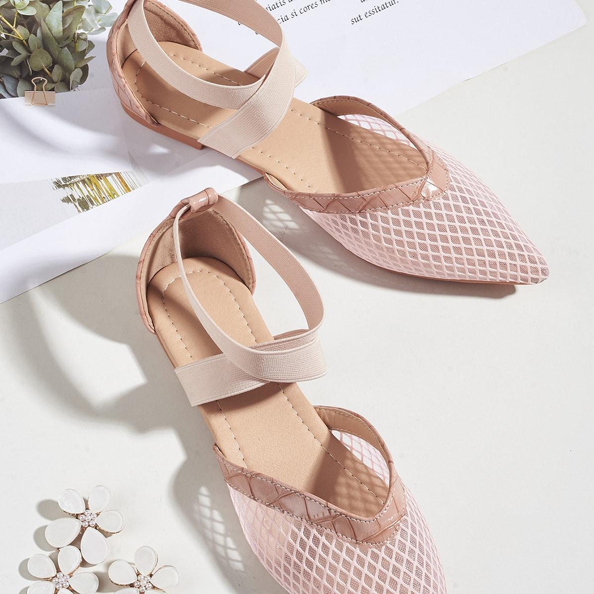Zapatillas de ballet con malla con diseño de cocodrilo