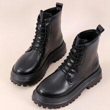 Lace-up Front Lug Sole Combat Boots