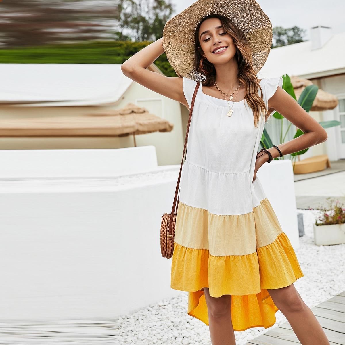 Платье комбинированным принтом с оборками SheIn swdress23210315691