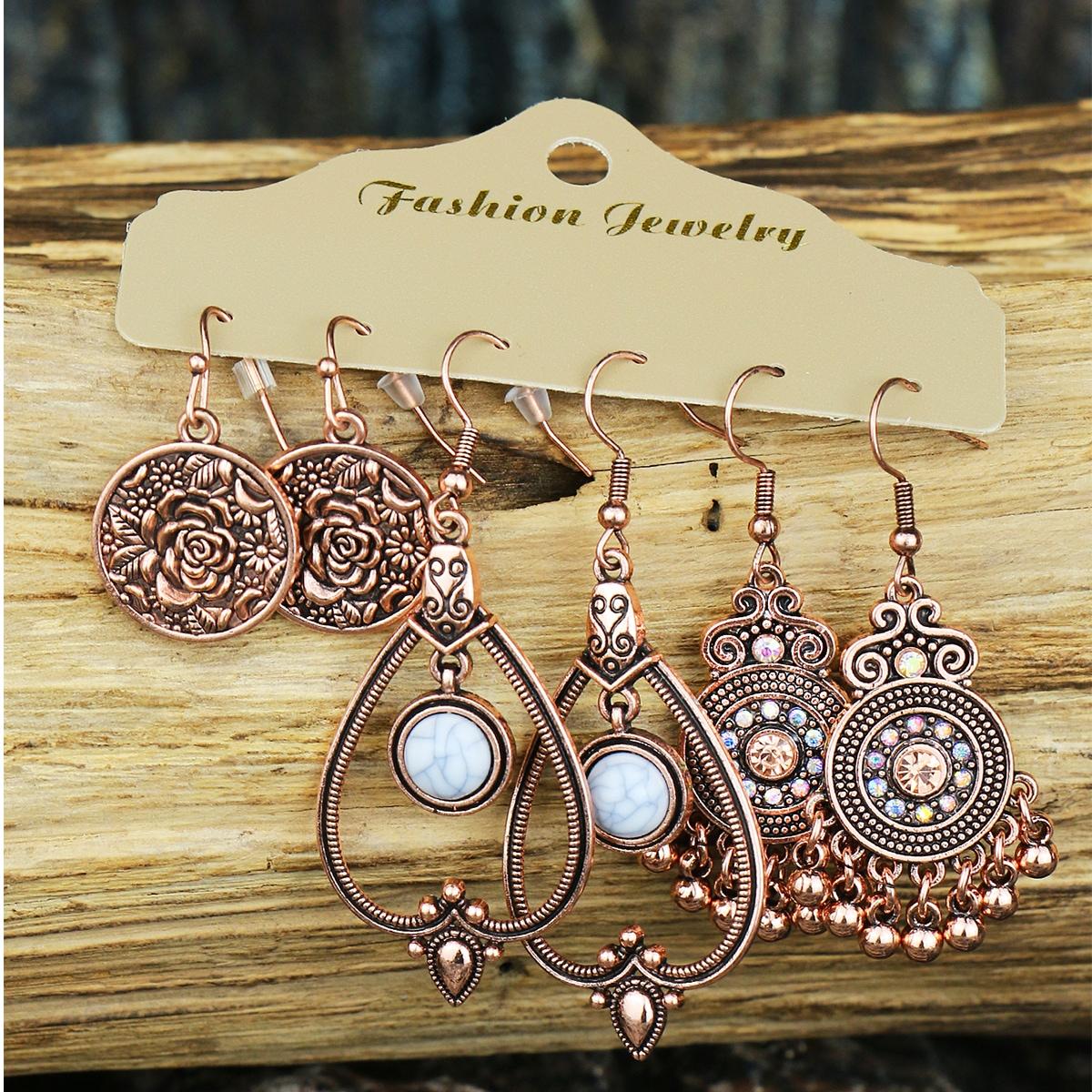 3pairs Flower Engraved Drop Earrings