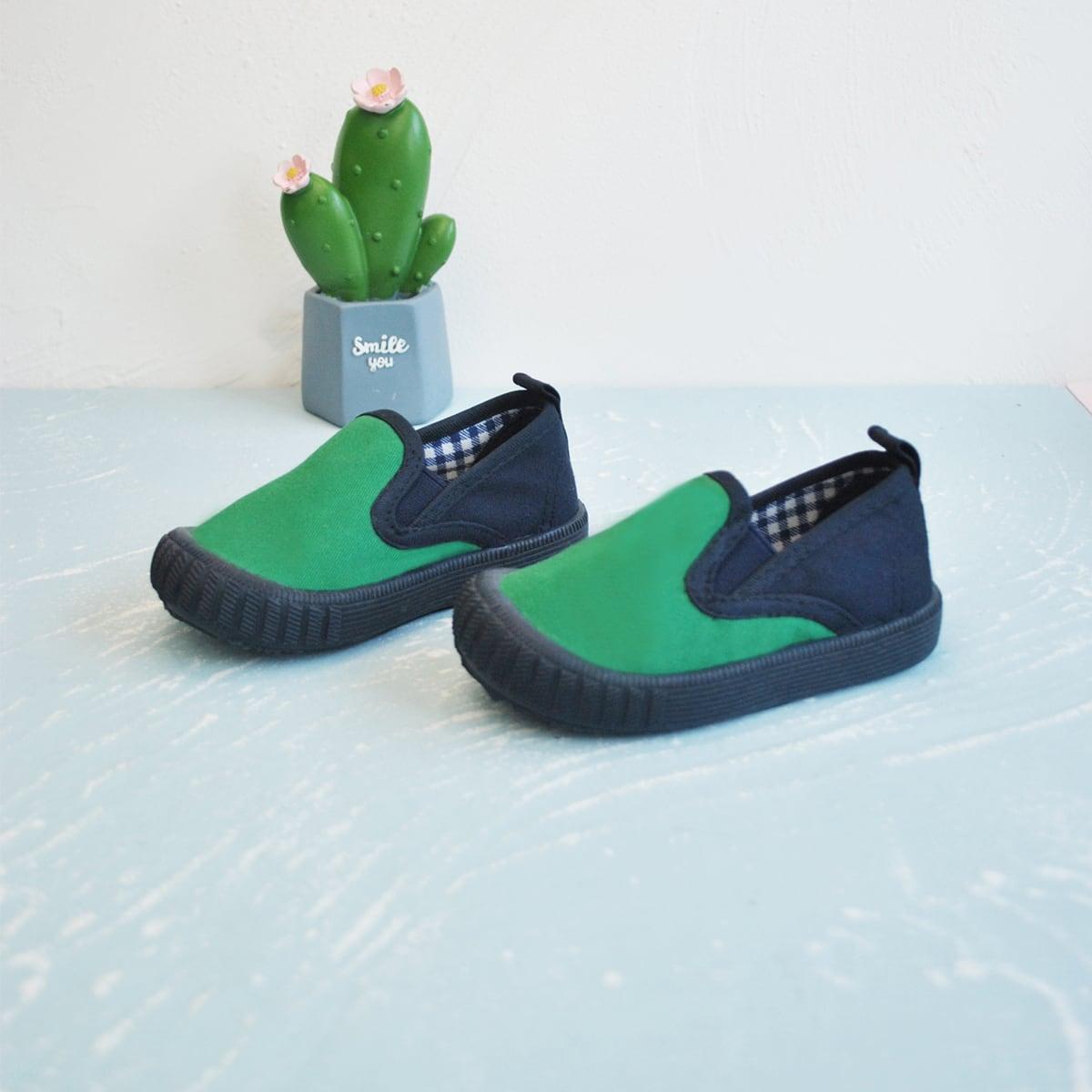 Двухцветные холщовые туфли для девочек от SHEIN