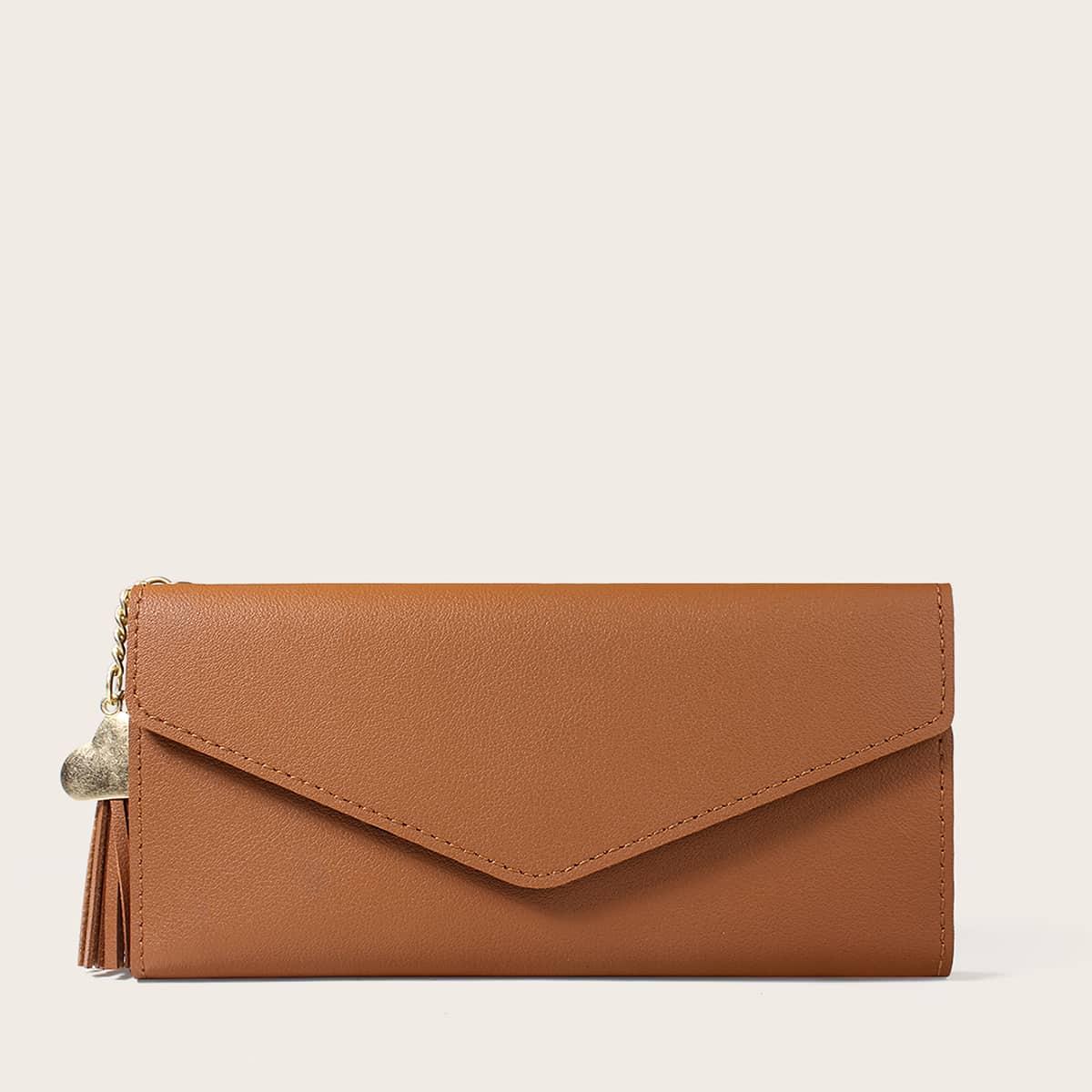 Lange Brieftasche mit Herz & Quasten Anhänger