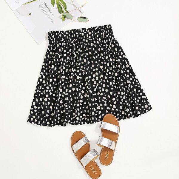 All Over Print Skirt, Black