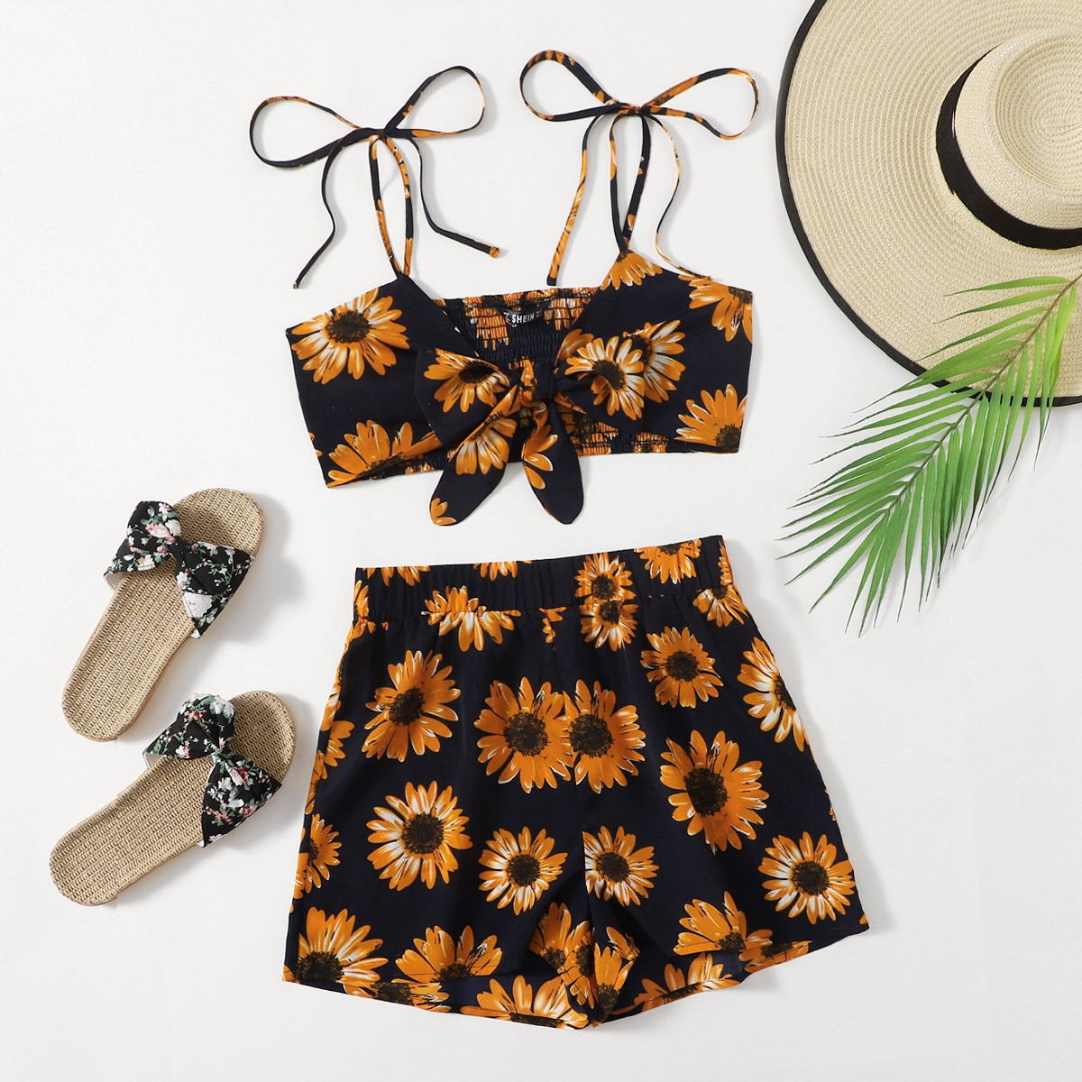 Allover Sunflower Shirred Knot Cami Top With Shorts