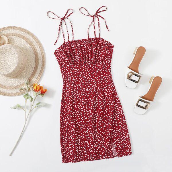 Knot Strap Ruched Bust Split Hem Allover Print Slip Dress, Multicolor