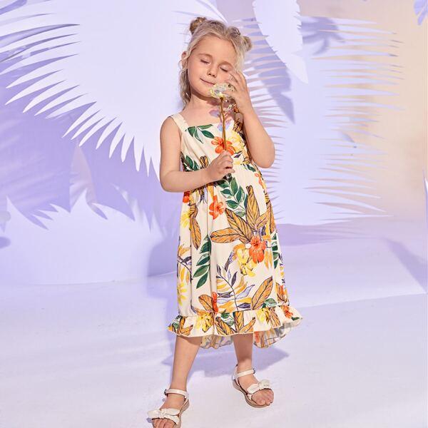 Toddler Girls Floral Print High Low Ruffle Hem Cami Dress, Multicolor