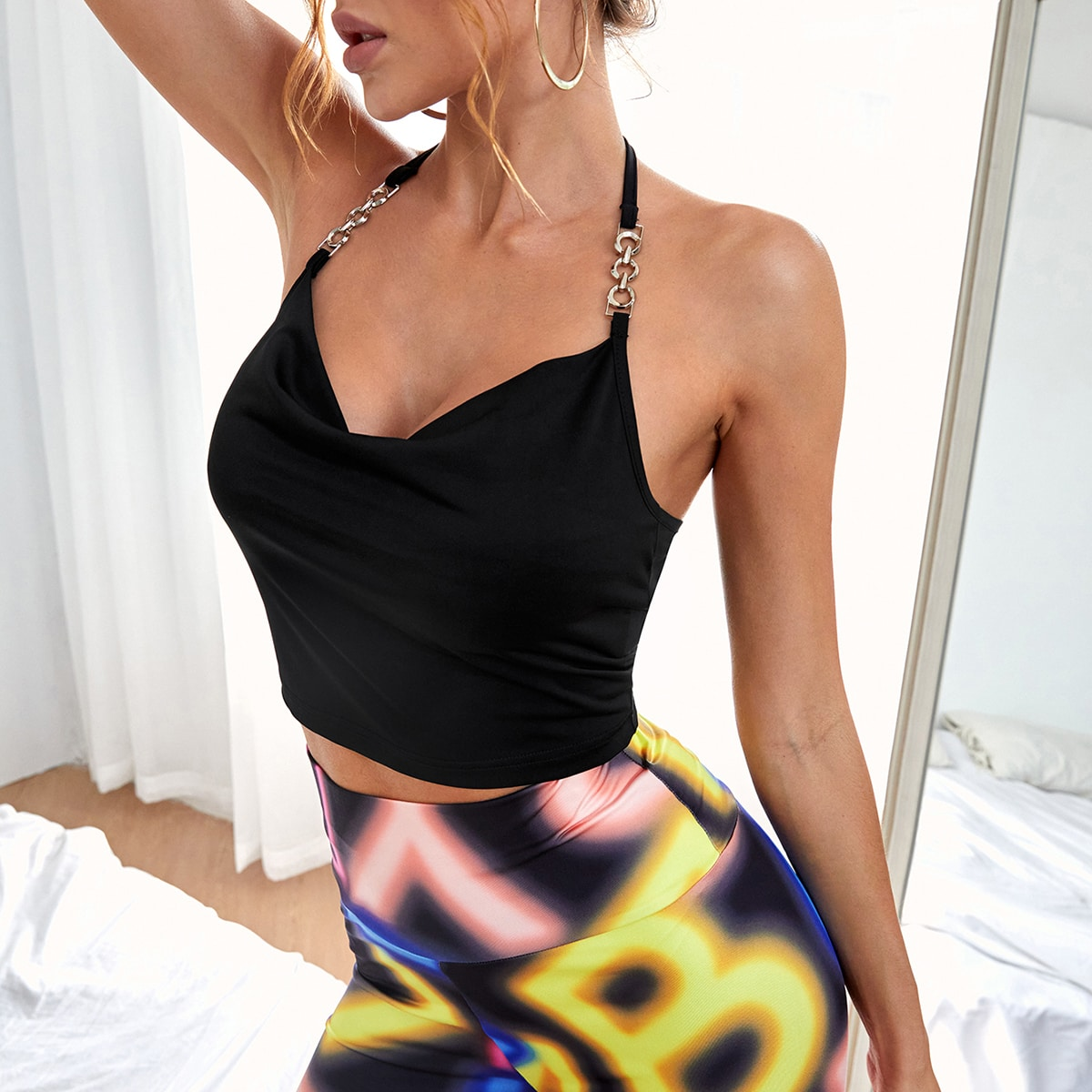 Draped Front Chain Halter Top
