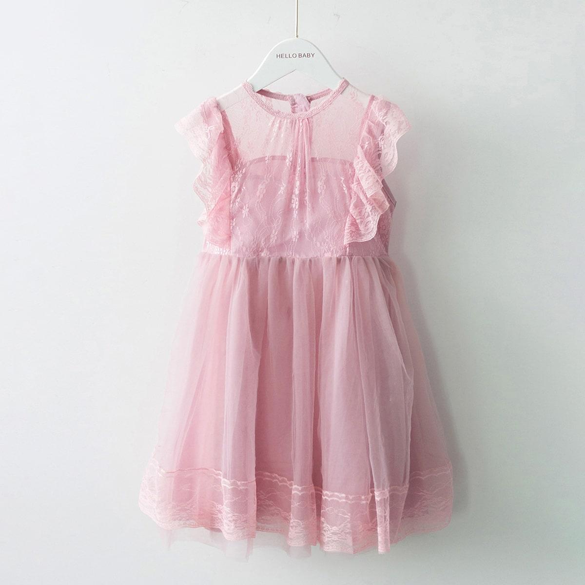 Girls Contrast Lace Ruffle Trim Zipper Back Smock Dress