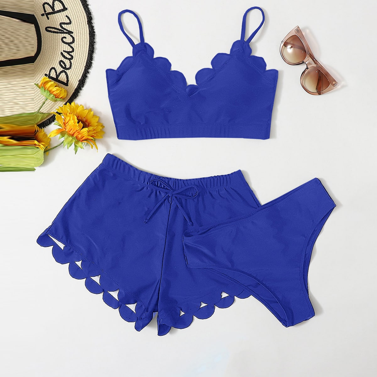 3pack Scallop Trim Bikini Swimsuit