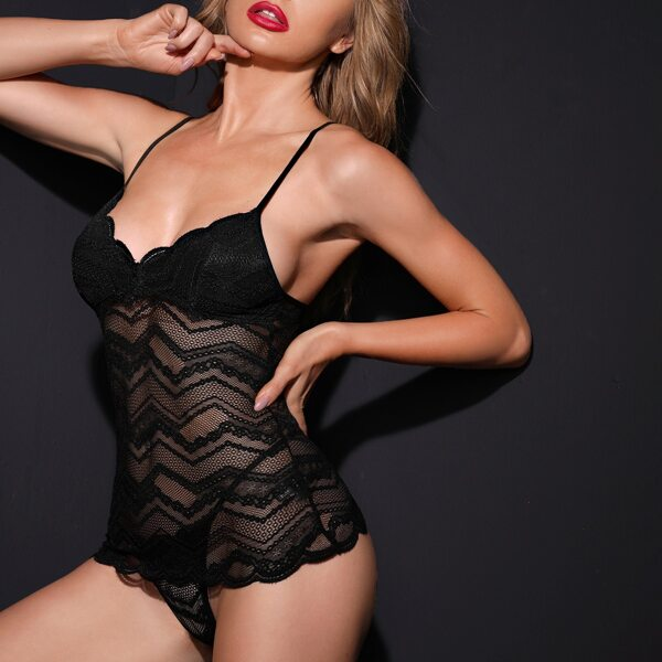 Lace Cami Night Top With Panty, Black