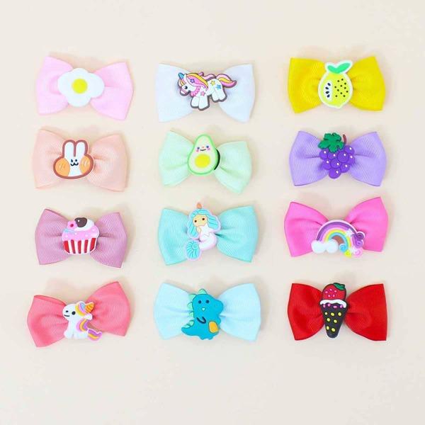 12pcs Toddler Girls Bow Hair Clip, Multicolor
