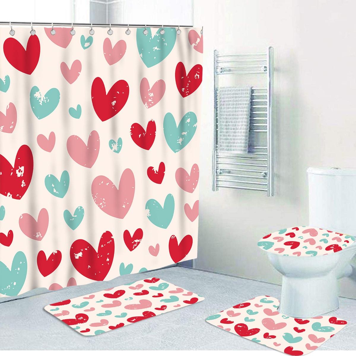 1 Stück Anti-Rutsch Duschvorhang mit Herz Muster