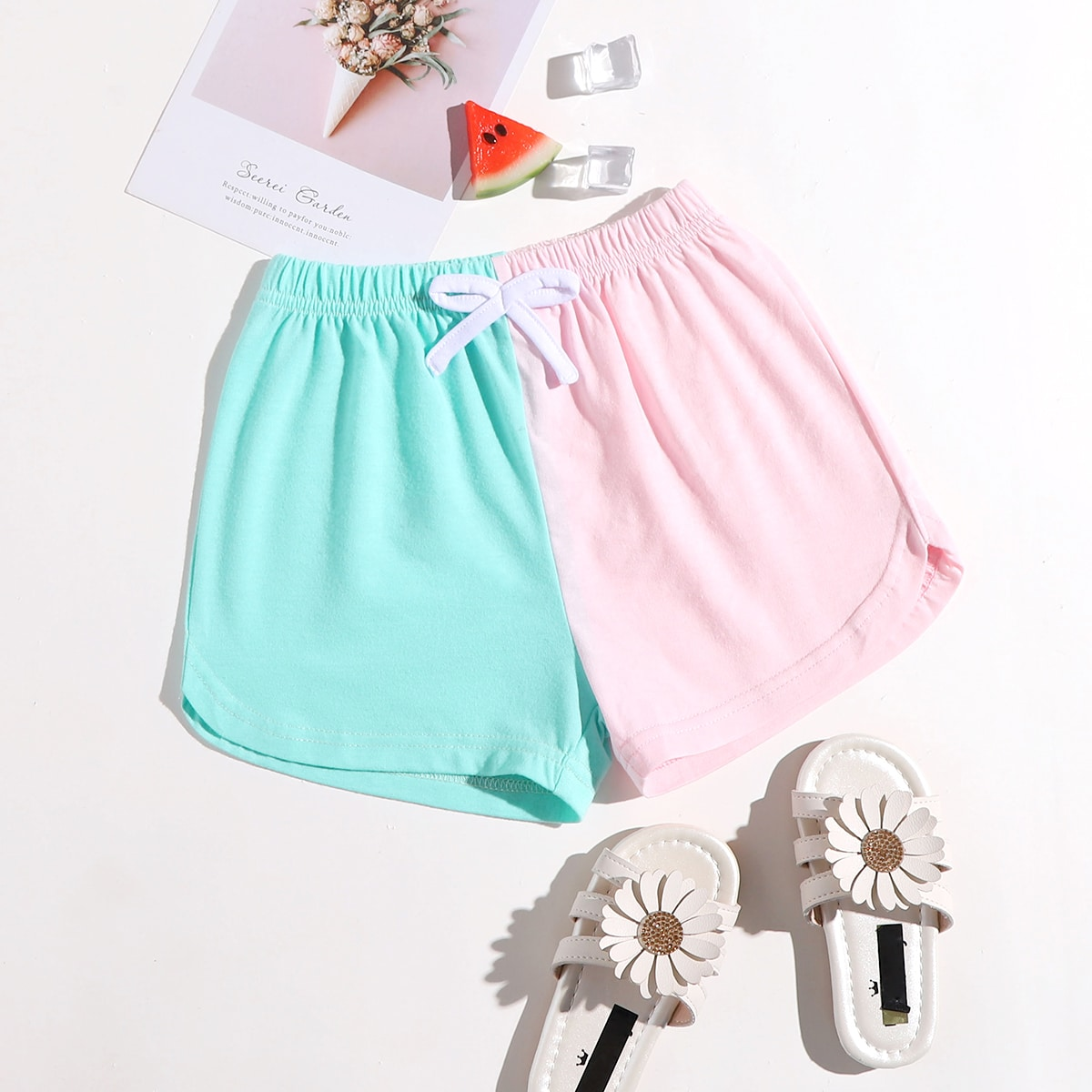 Toddler Girls Two Tone Bow Shorts