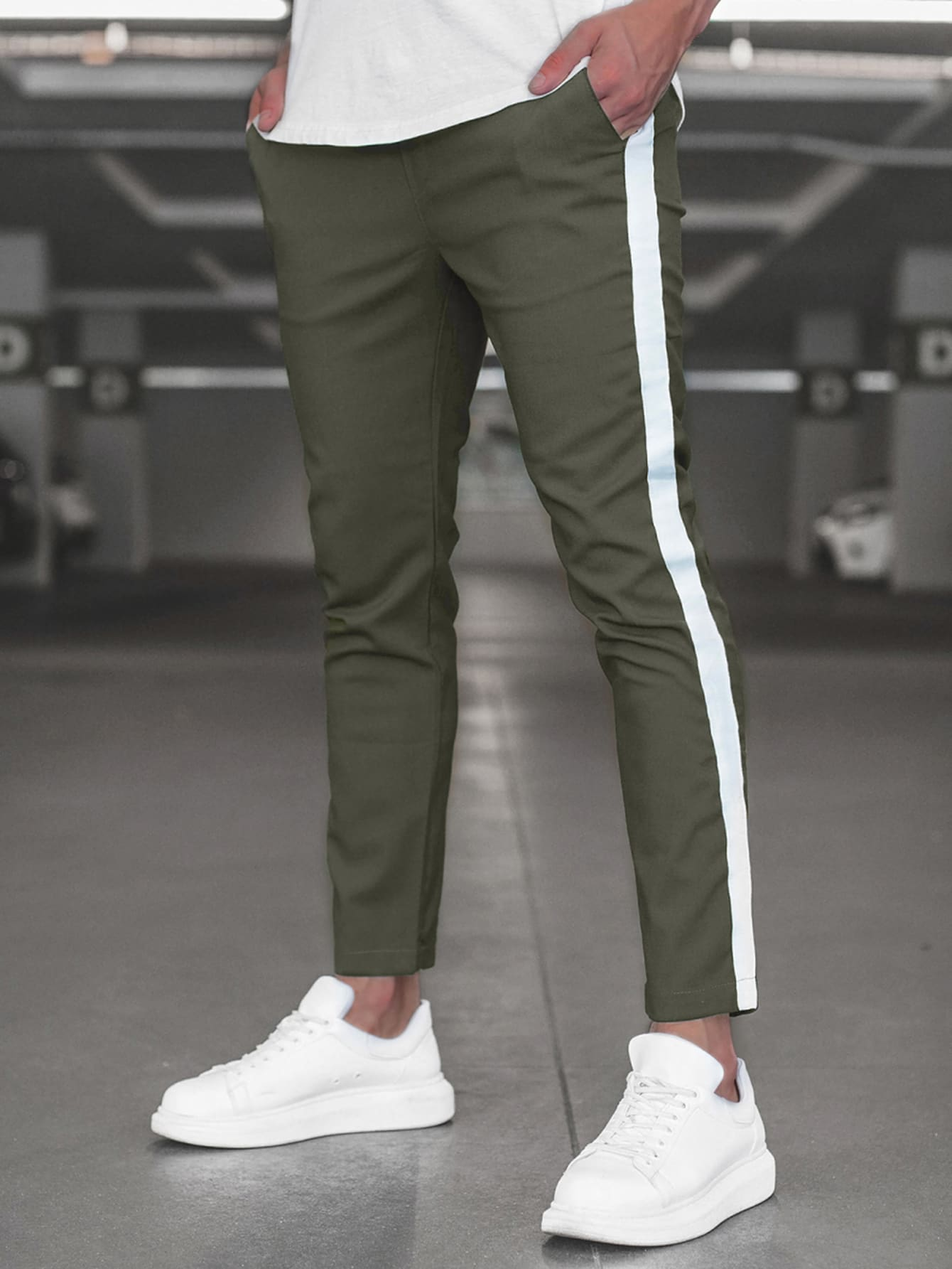 men contrast panel tapered pants