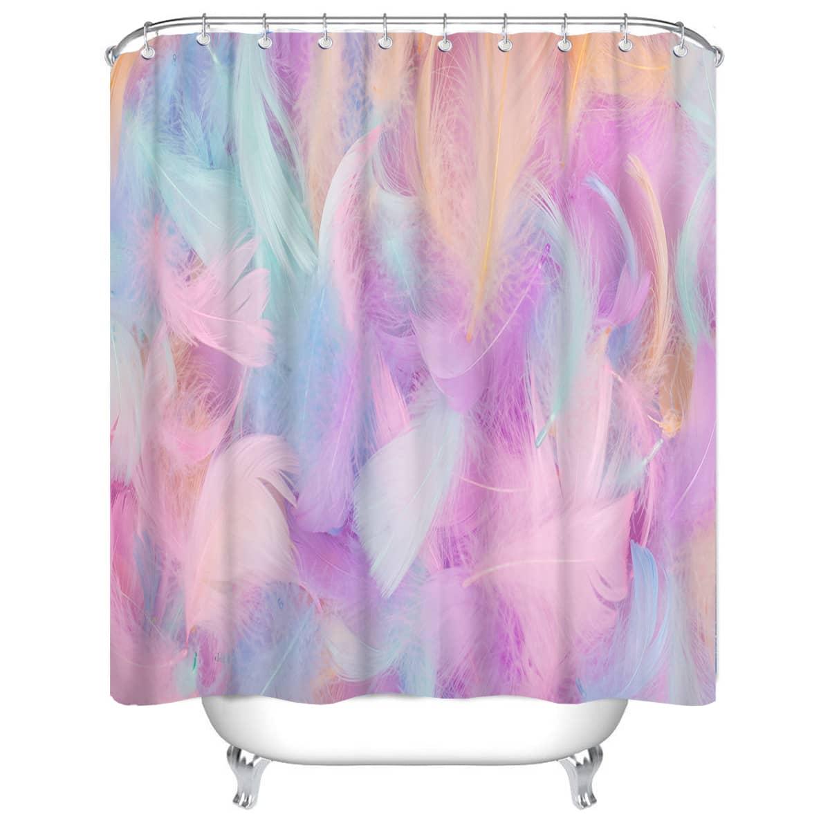 1 Stück Anti-Rutsch Duschvorhang mit Feder Muster